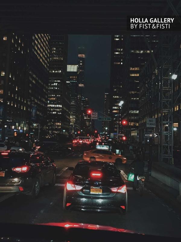 New York, ночной город, огни, машины, авто, улица, небоскребы, авеню
