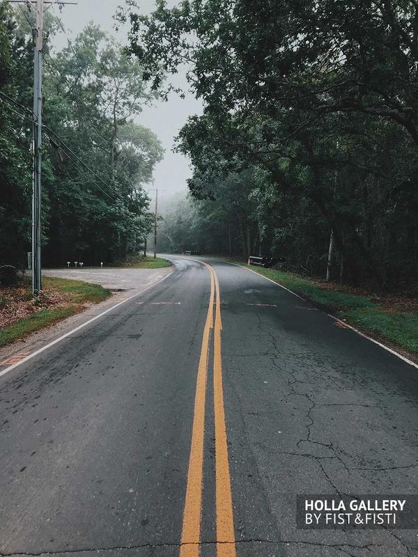 Дорога, природа, туман, путешествие. Постер