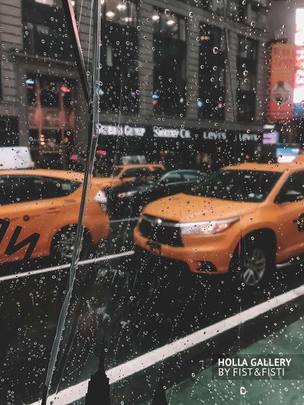 New York, отражение, капли, стекло, желтые такси, такси, yellow taxi
