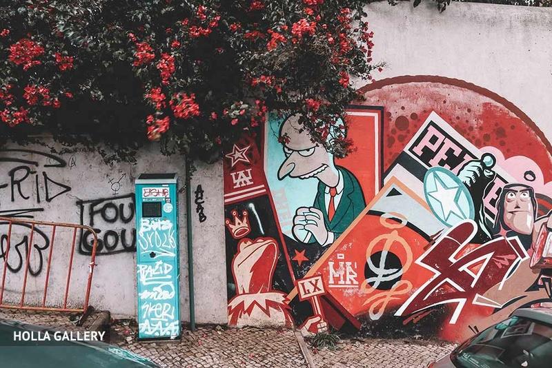Абстрактное граффити на стене в Лиссабоне