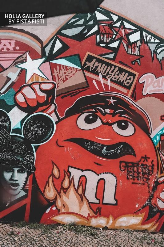 Большое граффити на стене в Лиссабоне. M&Ms