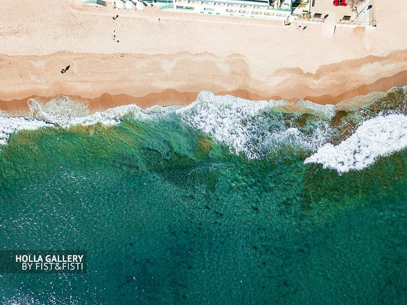 Морские волны с коптера, бирюзовая вода