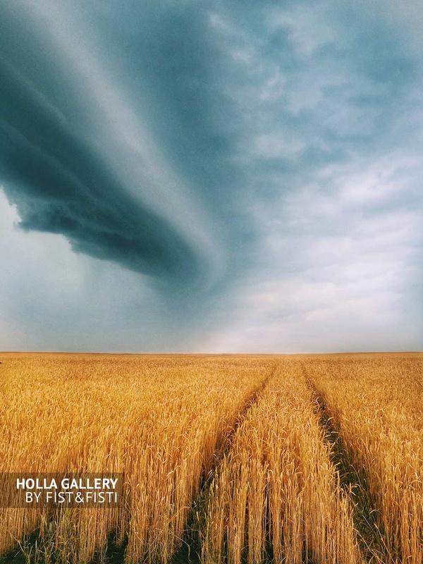 Ураган в чистом поле ржи, Россия. Небо, минимализм