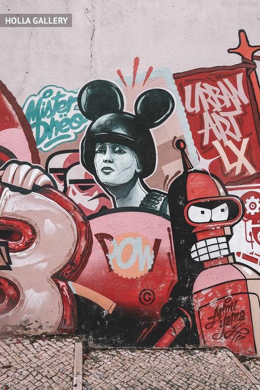 Граффити в урбанистическом стиле на лестнице Лиссабона.