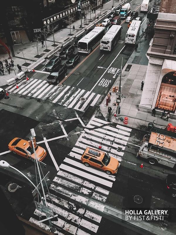 New York City, USA, перекресток, такси, автобусы. улица