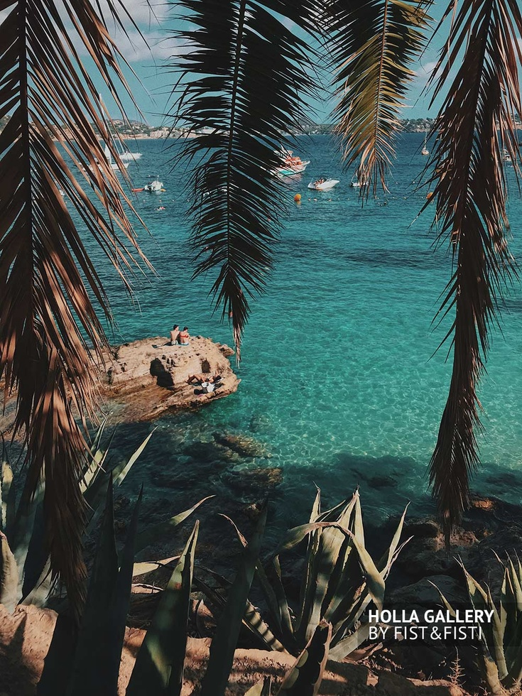 Бухта на Майорке. Яхты в бирюзовом море под навесом пальм. Фото картина