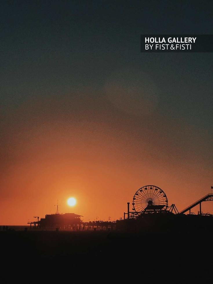 Закат в Санта Монике, силуэт Santa Monica Pier, колесо обозрения