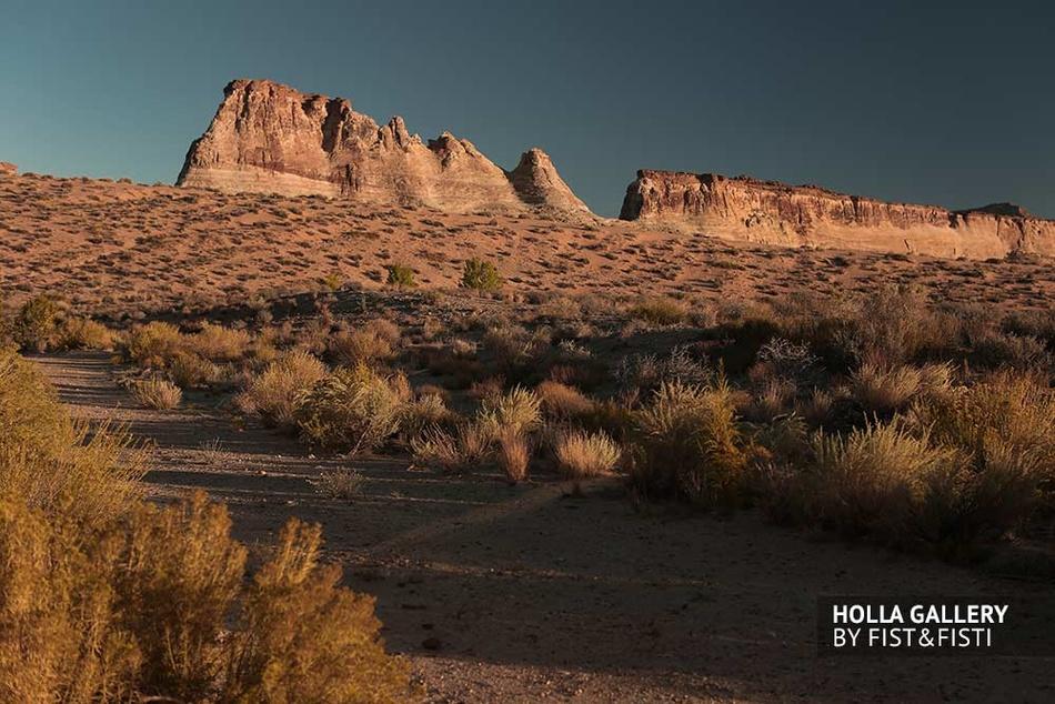 Пустыня в Utah на закате. Скалы, небо и кустарники. Фото картина