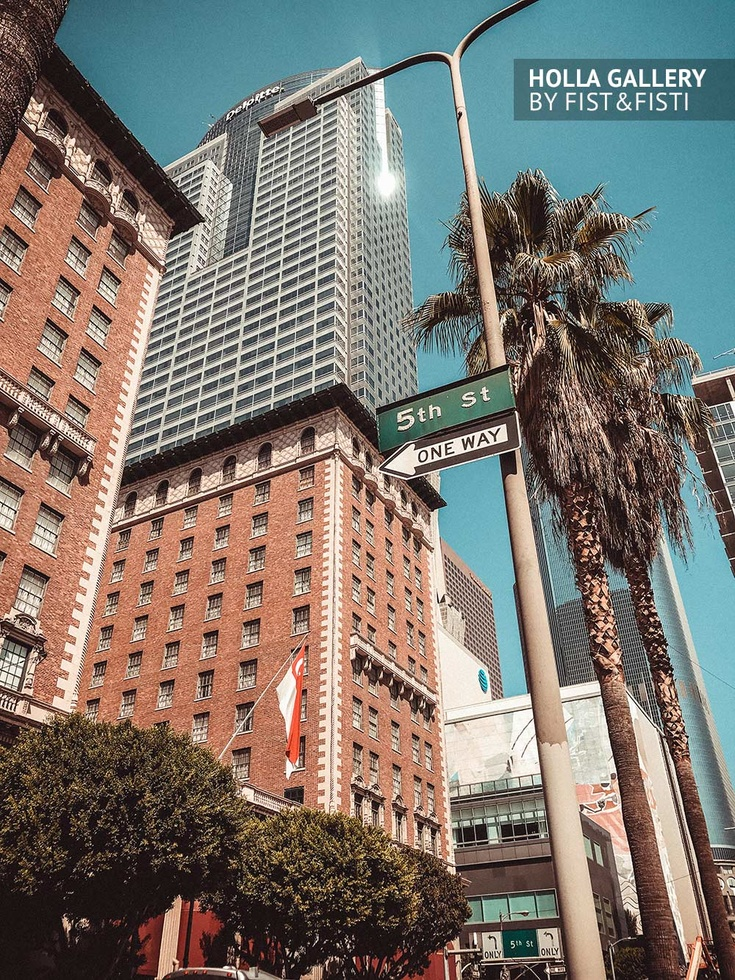 Los Angeles, небоскребы, пальмы, USA