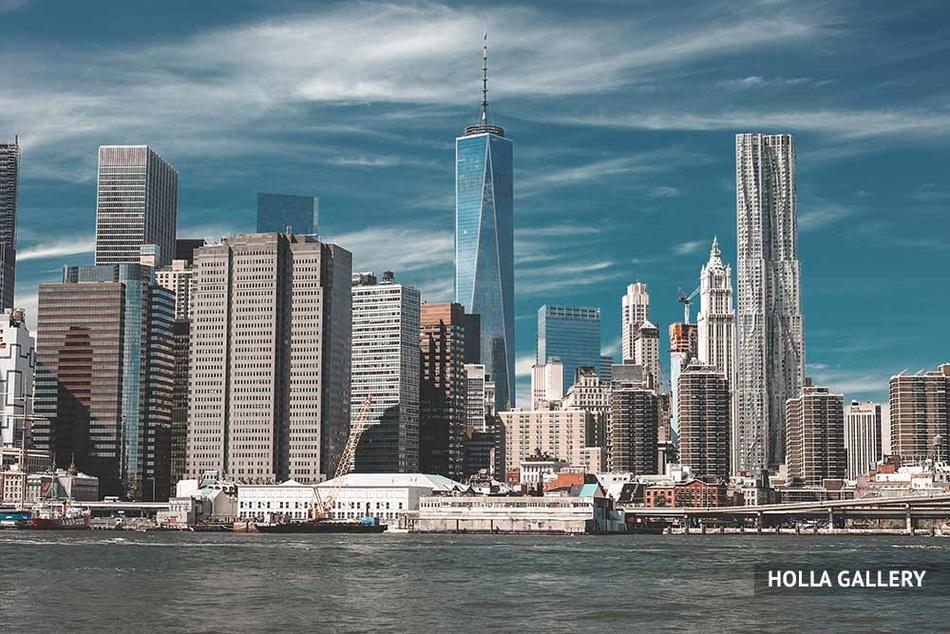 Небоскребы Нью-Йорка со стороны реки Гудзон
