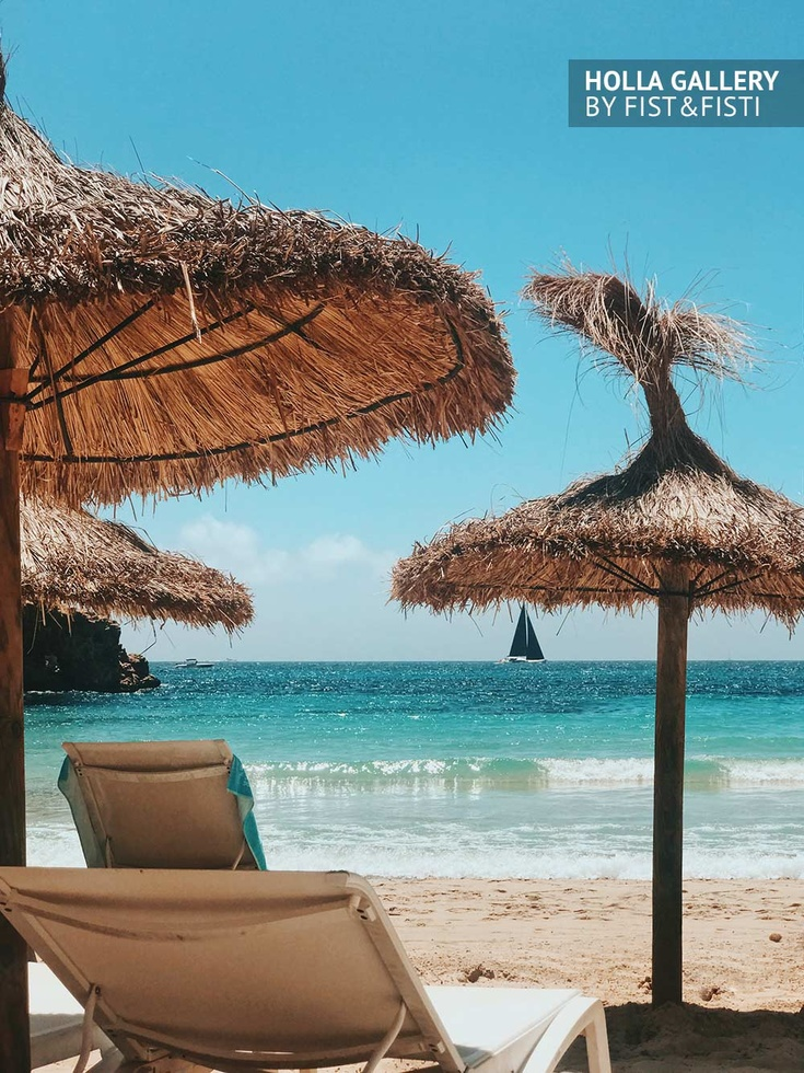 Mallorca, Испания, море, яхта, шезлонг, зонты, пляж, небо, вода, парусник