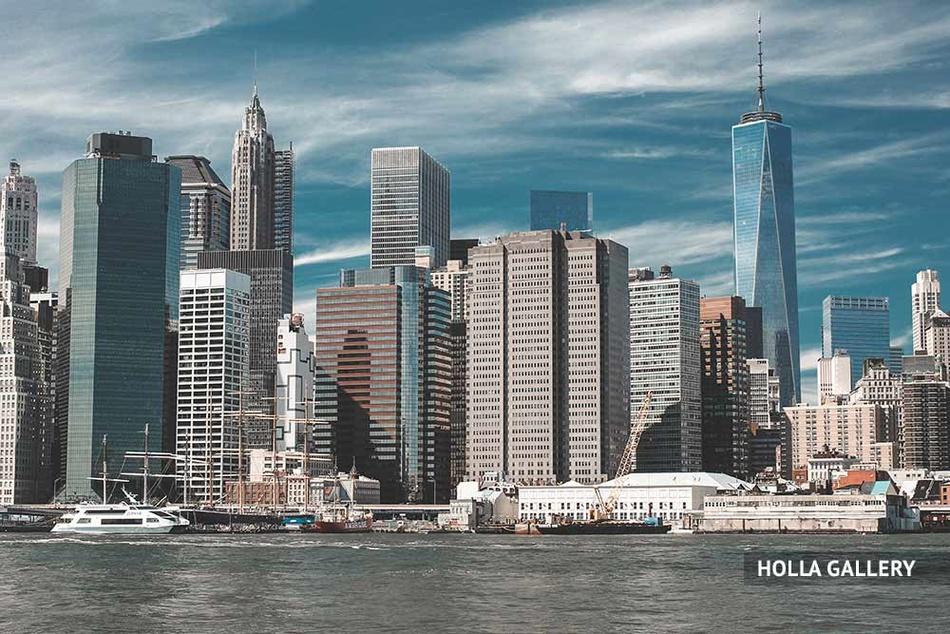 Вид на небоскребы Нью-Йорка с воды