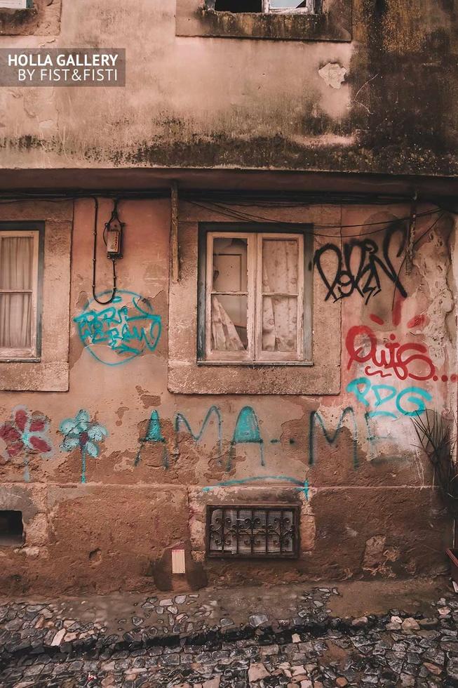 Разрисованный дом Лиссабона, фотообои для интерьера.