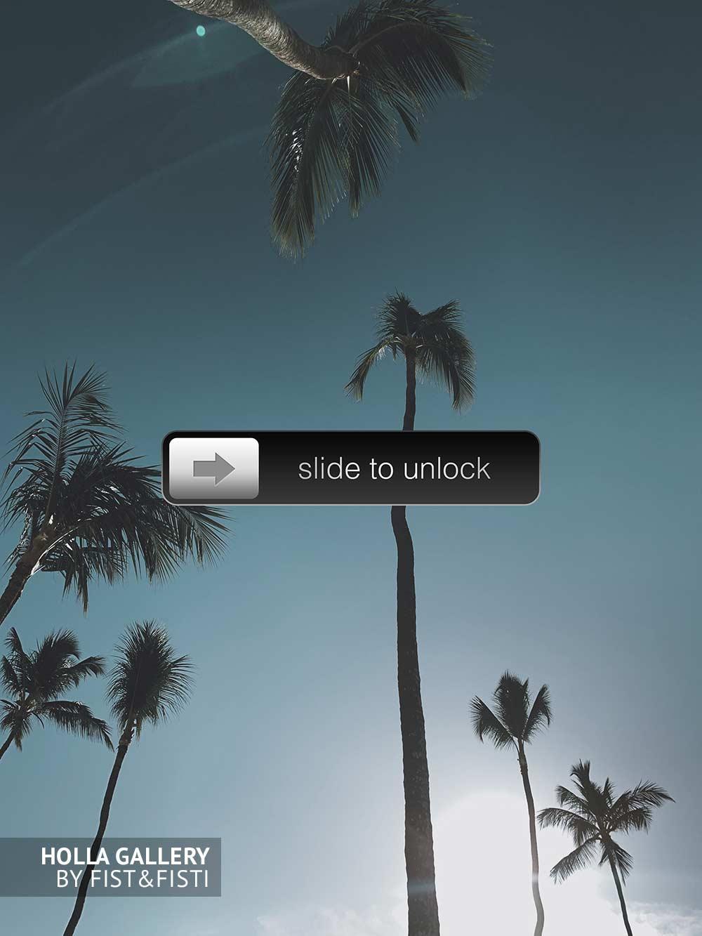 Slide to unlock значок на фотографии пальм и чистого неба. Доминикана, интерфейс iPhone. Постер для интерьера