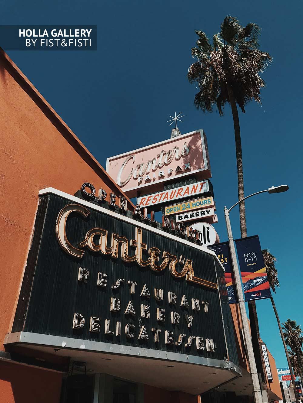 Canter's Deli, Los Angeles, пальмы, пекарня, деликатес, небо