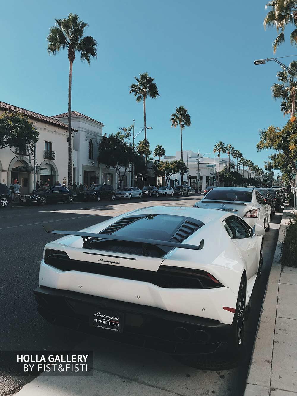 Припаркованная белая lamborghini среди пальм в Newport Beach. Плакат на стену. Спортивный автомобиль